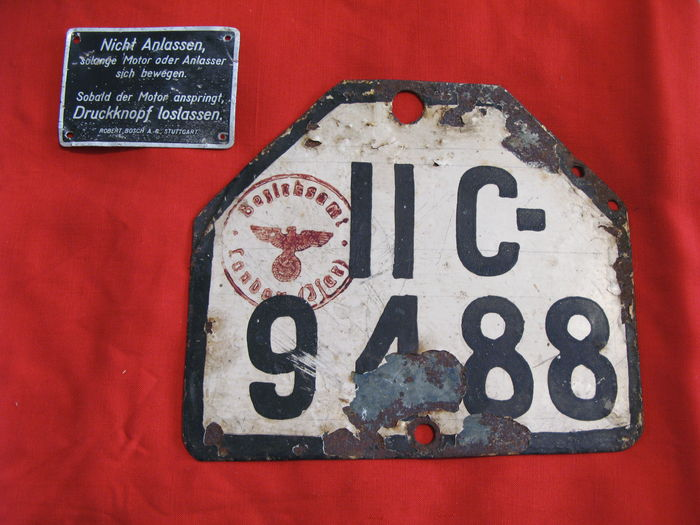 Original German license plate WW2 - Catawiki