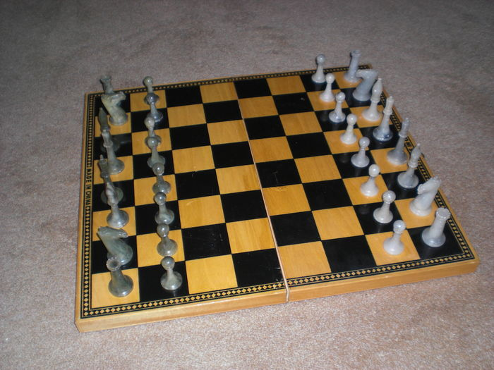 Chess game of real soapstone natural stone - Catawiki