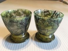 Daum Frères - two cameo glass egg cups