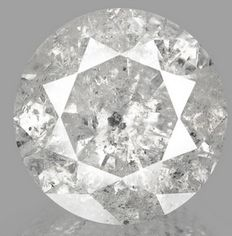 10.25 ct brilliant cut diamond, natural light grey. Low Reserve Price
