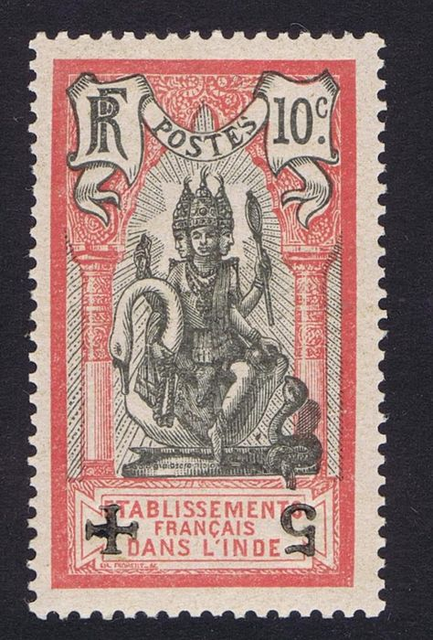 French India 1915/1916 – Red Cross with overprint upside down, certificate Richter - Maury n°45Eb