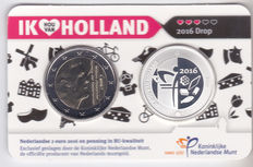 The Netherlands - 2 Euro 2016 'Ik hou van Holland:  Drop' with silver medal in coin card