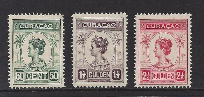 Curaçao 1916 - Wilhelmina 'Palm trees', perforation 12½ - NVPH 68D/70D