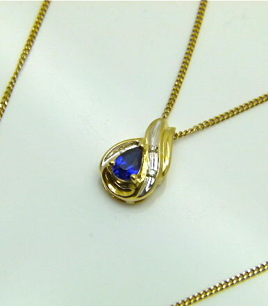 Midnight blue tear drop natural sapphire diamond solid gold midnight blue tear drop natural sapphire diamond solid gold italian pendant and chain mozeypictures Image collections