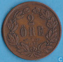 Sweden 2 öre 1857 (long beard)