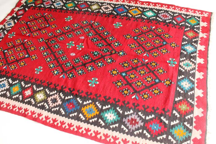 tapis d orient kilim art deco antique anatolie sarkoy tapis kilim fait main 140x210cm laine sur. Black Bedroom Furniture Sets. Home Design Ideas