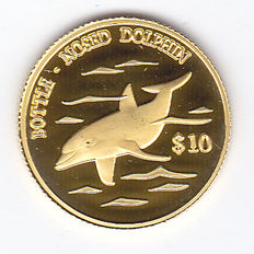 "Cook Islands - 10 Dollars 2000 ""Bottle-nosed Dolphin"" - Gold"