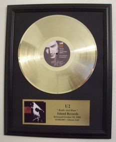 U2 - Gold Plated Record U2 Bono - Rattle and Hum 24krt Gold Plated