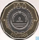 "Kaapverdië 100 escudos 1994 (messing ring) ""Zeilschip Madalan"""