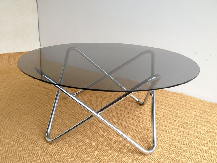 Vintage Coffee Table Chrome With Smoked Glass Catawiki