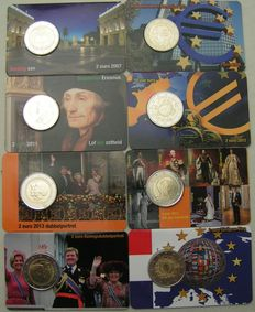 The Netherlands - 2 Euro coins 2007/2015, complete series (8 different ones) in coin cards