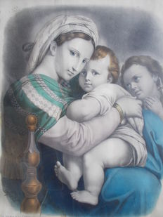 "A large colour lithograph from the 19th century: Engraver, Adolphe Lafosse (1810-1879) ""La Vierge à l'enfant avec Saint Jean Baptiste"" also known as ""La Vierge à la chaise"" circa 1840 signed."