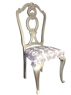 Elegant wooden chair finished in silver. 20th century