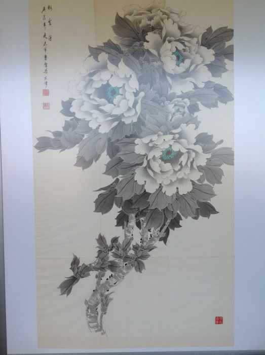 China - Calligraphy Lotus flowers - approx. 1950