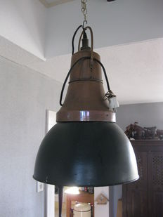Unknown designer - Industrial hanging lamp, bronze.