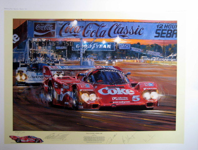 """Duel At Sunset"" - Porsche 962 Sebring 22 March  1986 - Signed By Stuck/Bell/Akin - With Certificate"