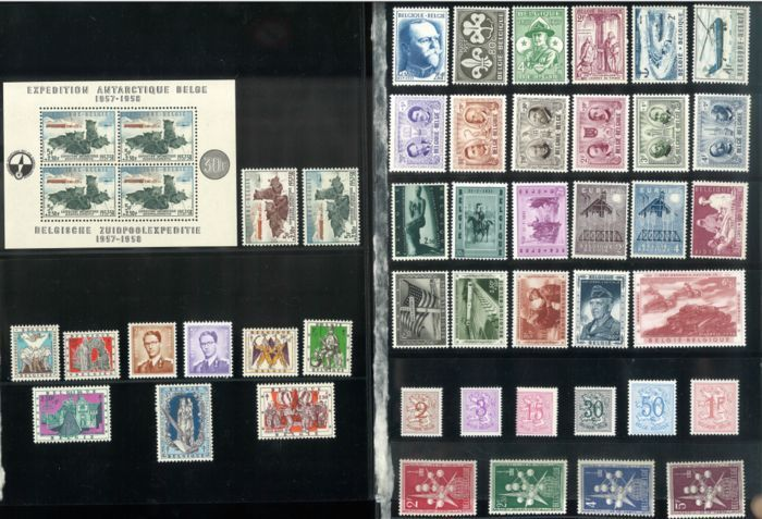 Belgium 1957 - Full Year with block South Pole - OBP / COB 1008/1045