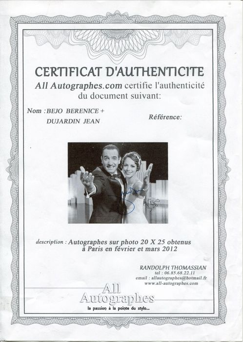 All autographes jean dujardin and berenice bejo 39 the for Jean dujardin autographe