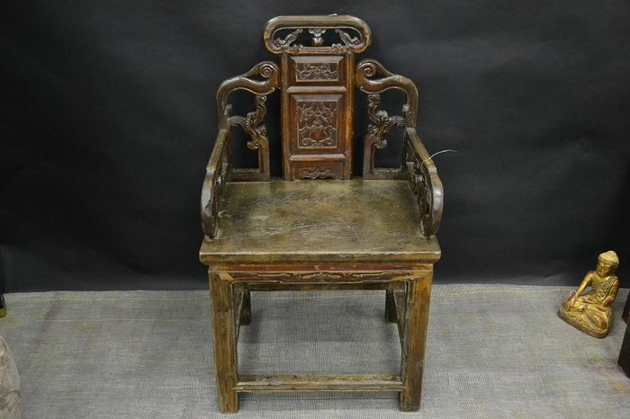 Antique Chinese chair with armrest, antiquity - China - around 1900 century - Antique Chinese Chair With Armrest, Antiquity - China - Around 1900