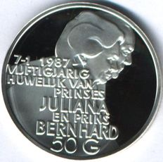 "The Netherlands - design coin 50 guilders 1987 ""50th Wedding anniversary Juliana and Bernhard"""