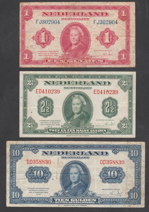 the netherlands 1 2 en 10 guilder 1943 coin banknote wilhelmina abnc catawiki. Black Bedroom Furniture Sets. Home Design Ideas