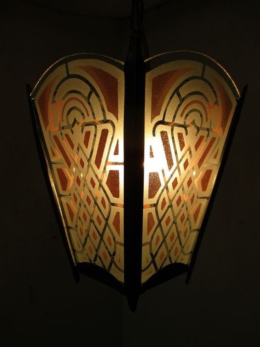 Art Deco stained glass lantern