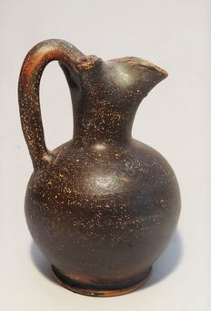 Ancient Greek black glazed pottery oinochoe - 123 mm