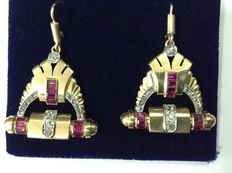 Art Deco earrings, 18 kt gold, rubies and diamonds