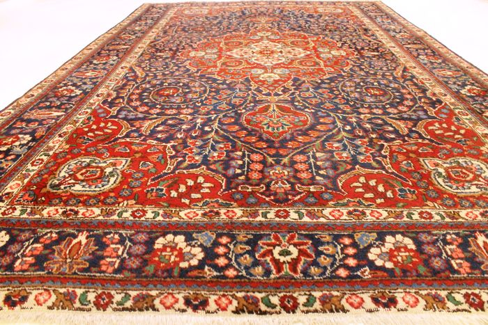 beau tapis persan tabriz vintage de style art nouveau fait en iran 210 x 340 cm laine en. Black Bedroom Furniture Sets. Home Design Ideas
