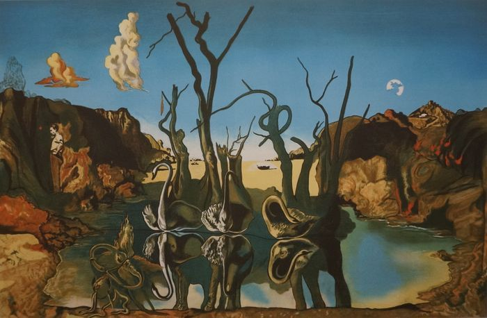 Salvador Dali (after) - Swans reflecting elephants again ...
