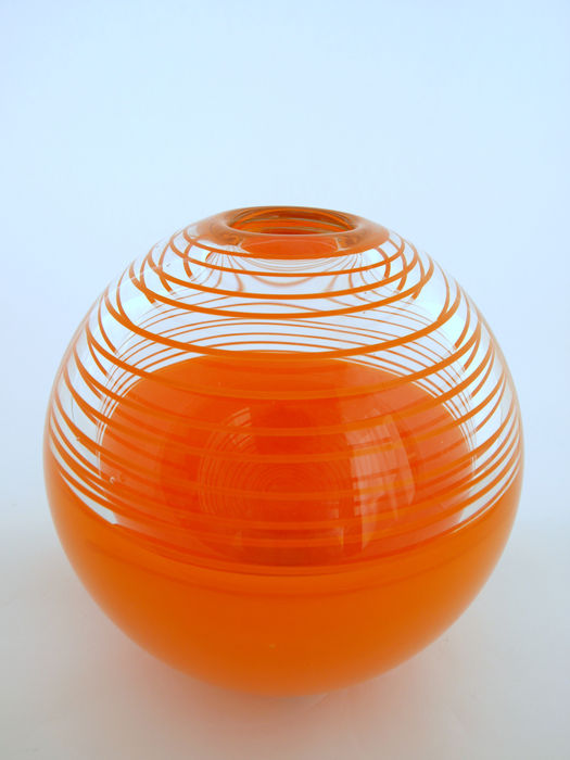 Jan Bernek Bernek Large Orange Spherical Vase Catawiki