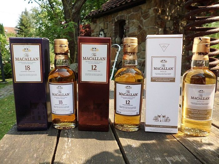 The Macallan miniature collection  (12 years old, 18 years old and gold)