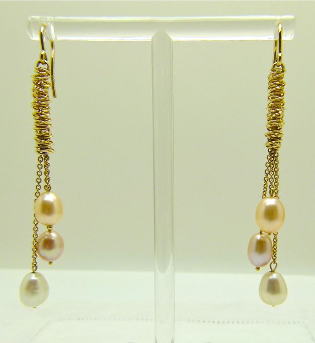 gold yellow with pearls pear catawiki kavels earrings shaped