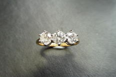 18k Gold Trilogy Diamond Ring - 1.50ct  J, SI2 - size 51
