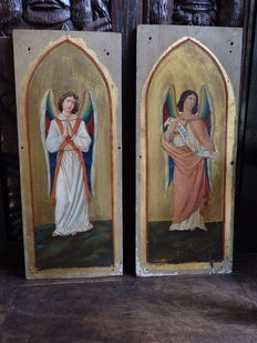 Pair of religious panels with angels - Bruges - early 19th century