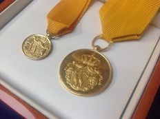 "Royal decoration ""For loyal service"" Dutch Golden military medals of Queen Wilhelmina, potential museum pieces."