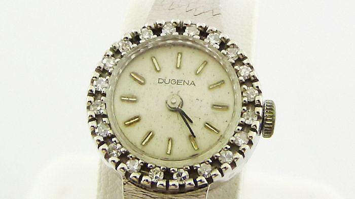 DUGENA White gold wristwatch with 0.40 ct diamonds.
