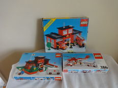 Classic Town / Legoland - 6382 + 363 + 386 - Fire Station + Hospital with Figures + Helicopter and Ambulance