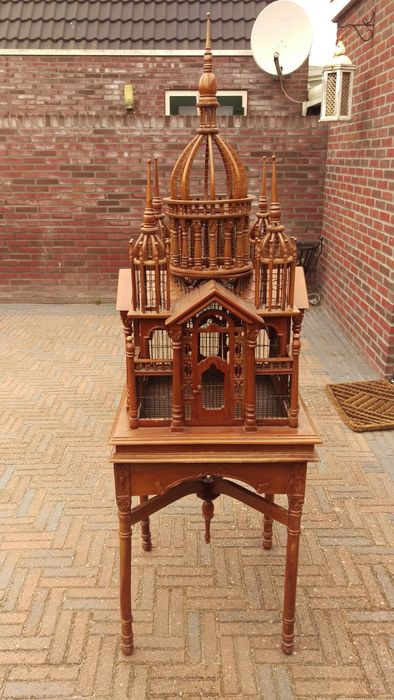 Victorian Bird Cage House On Stand Wood Wooden Cathedral
