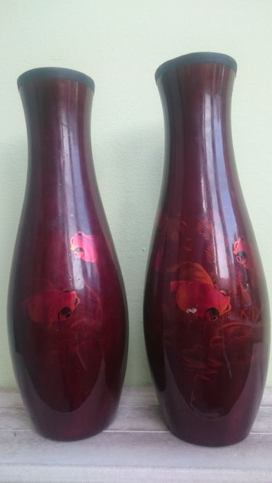 Pair Of Lacquered Paper Mache Vases Japan First Half 20th