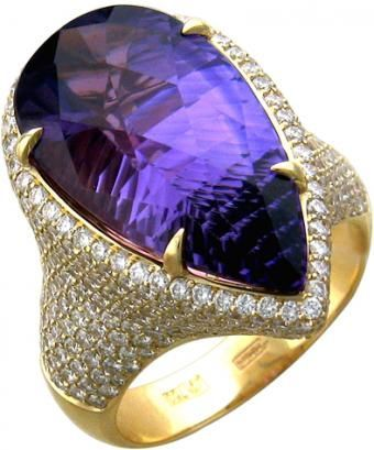 Golden cocktail ring with amethyst 11.10 ct and diamonds 1.93 ct