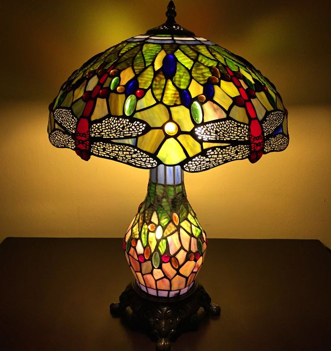 Elegant Tiffany Style Table Lamp Big Green Dragonfly With 3 Lights