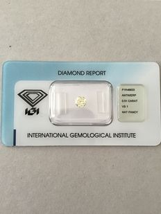 Radiant cut diamond, 0.51 ct, natural fancy yellow VS1