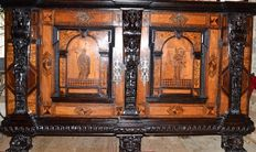 An early Baroque ebonised and marquetry sideboard - probably South Germany - mid 17th century