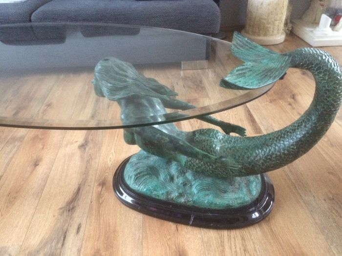 Incroyable Bronze Mermaid Coffee Table With Facet Cut Glass