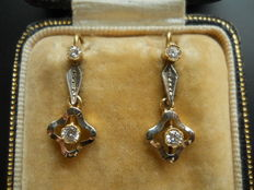 14 kt gold antique diamond dangle earrings with diamonds, 0.3 ct. total