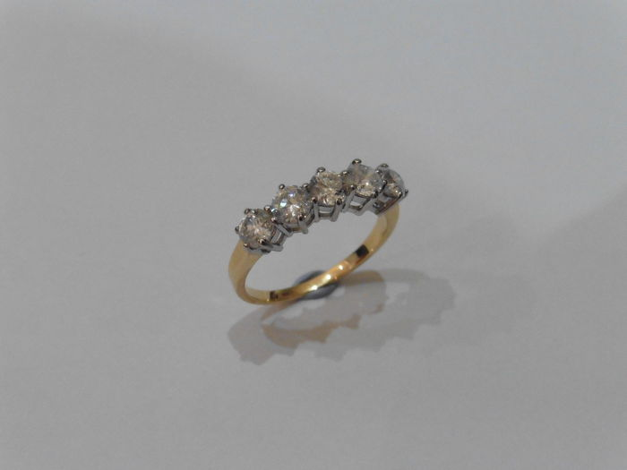 18k Gold Diamond Five Stone Ring - 0.50ct  I/J, SI1 - size 53
