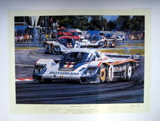 "Art Lithograph - "" Porsche Domination "" Le Mans 19th-20th June 1982 : Artist Nicholas Watts"