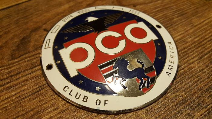 Porsche - Porsche Club of America Enamel badge - diameter 95 mm