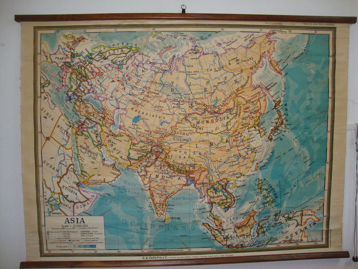 Old school maps - ASIA - series of fisico political maps - Made in ...